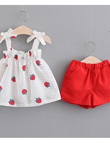 Bebelus Fete De Bază Fruct Fără manșon Bumbac Set Îmbrăcăminte / Copil