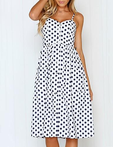 Pentru femei Mărime Plus Size Boho / Sofisticat Linie A Rochie - Plisată / Imprimeu, Buline Midi
