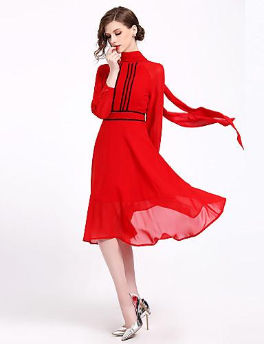 Compiacente Per Donna Per Uscire Essenziale Taglia Piccola Linea A Vestito - Con Fiocco, Tinta Unita A Collo Alto Medio #06755178