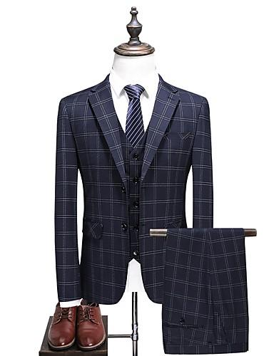 Bărbați Zilnic Primăvara & toamnă Mărime Plus Size Regular Costume, Houndstooth Bestii Fantastice Rever Clasic Manșon Lung Celofibră / Poliester Bleumarin XXXL / 4XL / XXXXXL