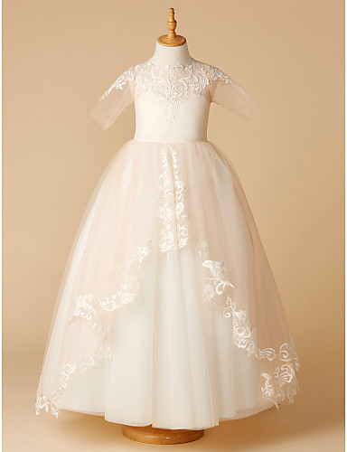 c66a3d0568e A-Line Sweep   Brush Train Flower Girl Dress - Tulle Half Sleeve Jewel Neck  with Appliques by LAN TING BRIDE®
