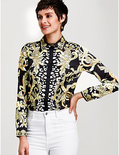 abordables Camisas y Camisetas para Mujer-Mujer Sofisticado Estampado Camisa, Cuello Camisero Floral Dorado L