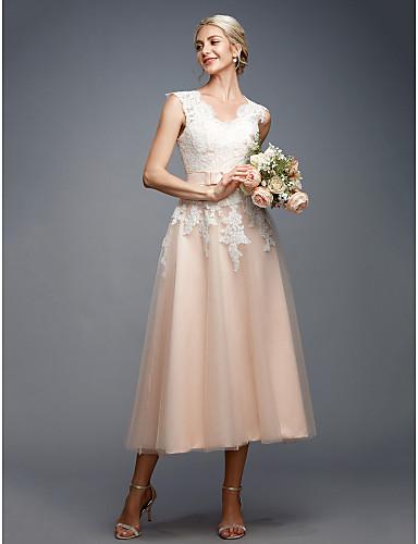d4c9e8f75caf Γραμμή Α Λαιμόκοψη V Κάτω από το γόνατο Δαντέλα   Τούλι Φορέματα γάμου  φτιαγμένα στο μέτρο