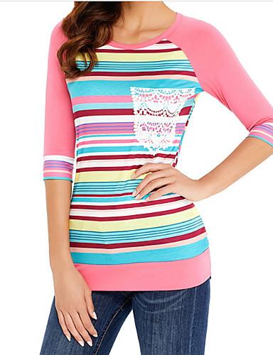 billige Dametopper-Bomull Tynn T-skjorte Dame - Stripet, Trykt mønster Grunnleggende Ut på byen Svart og hvit Grå / Sommer / fin Stripe