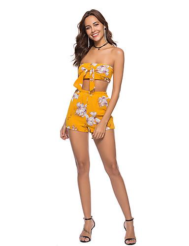Žene Izlasci Kratka Set - Cvjetni print Visoki struk Hlače Bez naramenica / Sexy