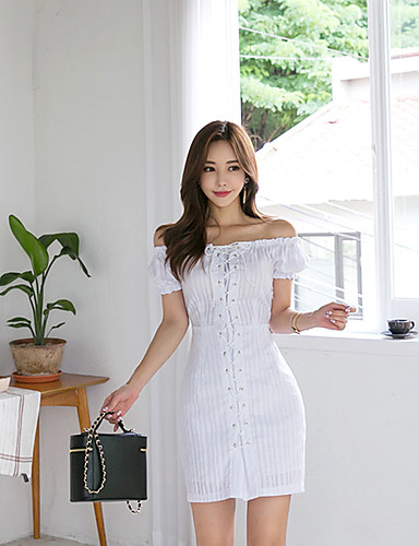 Women's Daily Boho Lantern Sleeve Skinny Bodycon Dress Lace up Strapless Summer White M L XL
