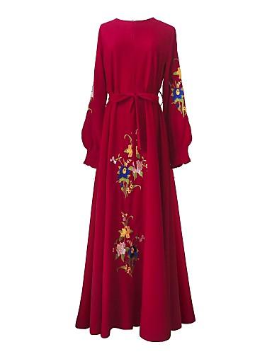 voordelige Maxi-jurken-Dames Strand Standaard Wijd uitlopend Jurk - Geometrisch, Print Maxi