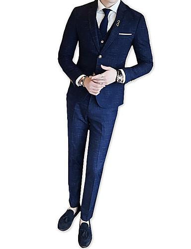 odijela Muškarci Karirani uzorak,Zašiljeni rever / Dugih rukava