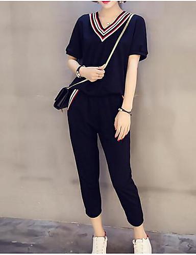 billige Dametopper-Dame Aktiv Store størrelser T-skjorte Bomull T-skjorte / Sett Bukse - Flettet, Ensfarget V-hals / fin Stripe