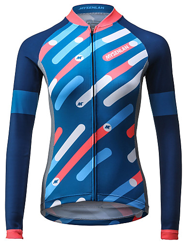 c1c704421 Mysenlan Women s Long Sleeve Cycling Jersey - Blue Stripes Bike Jersey Top  Breathable Quick Dry Sports Polyester Mountain Bike MTB Road Bike Cycling  ...
