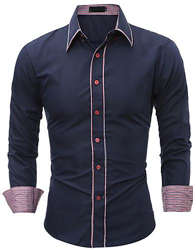 Veći konfekcijski brojevi Majica Muškarci - Posao / Osnovni Dnevno / Rad Jednobojni / Color block Slim, Kolaž / Dugih rukava
