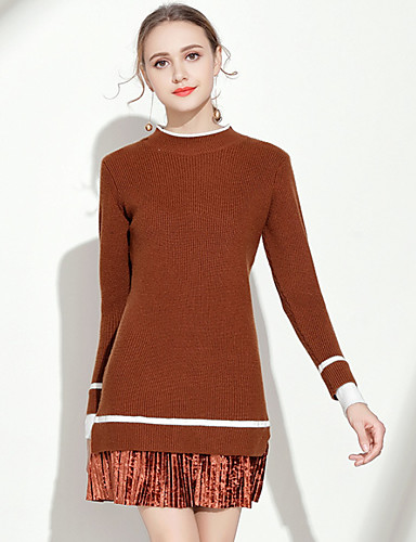 Žene Osnovni Slim Korice Haljina - Kolaž Uski okrugli izrez Iznad koljena
