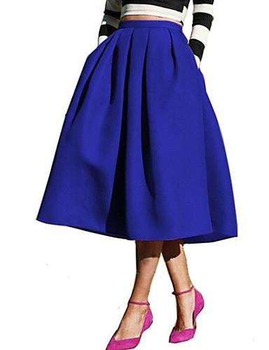 abordables Jupes-Femme Sortie Maxi Balançoire Jupes - Couleur Pleine Noir Vert Bleu Marine S M L