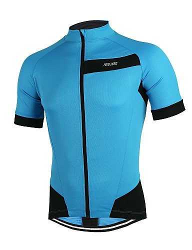 Arsuxeo Men s Short Sleeve Cycling Jersey - Red Green Blue Solid Color Bike  Jersey Reflective Strips Back Pocket Sports Polyester Mountain Bike MTB  Road ... 8d28fc2f7