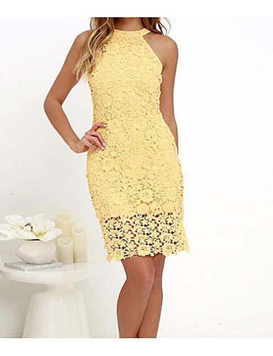 Women's Lace Plus Size Party Going out Sophisticated Mini Sheath Dress - Solid Colored Lace Halter Neck Summer Cotton Pink Yellow Wine XL XXL XXXL