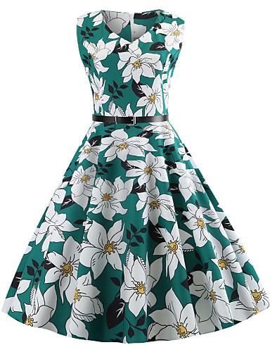 Žene Vintage Swing kroj Haljina Cvjetni print Do koljena