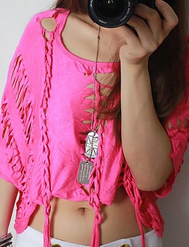 billige Topper til damer-Bomull Tynn / Løstsittende U-hals T-skjorte Dame - Ensfarget, Drapering Aktiv / Grunnleggende Ferie / Klubb Svart / Sexy