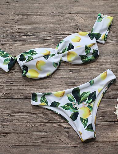 povoljno Ženske majice-Žene Bez naramenica Bijela Cheeky gaćice Bikini Kupaći kostimi - Voće Print S M L Bijela / Sexy
