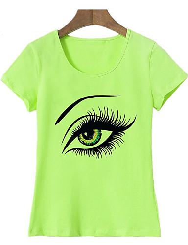 billige Dametopper-Bomull T-skjorte Dame - Portrett, Trykt mønster Grunnleggende Ut på byen Lysegrønn L