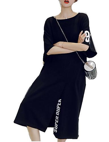 Žene Osnovni Puff rukav Shift Haljina - Rese, Karirani uzorak Iznad koljena Crno-crvena