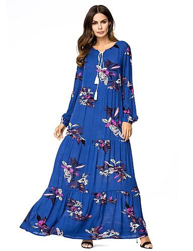 voordelige Maxi-jurken-Dames Standaard Pofmouw Ruimvallend Recht Jurk - Geometrisch, Print Maxi
