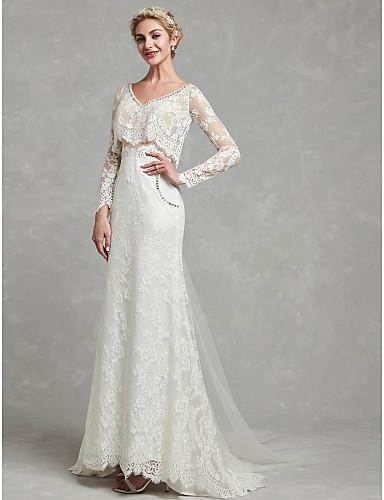 d8188f8984 play video. cheap Wedding Dresses-Sheath   Column V Neck Sweep   Brush  Train Lace ...