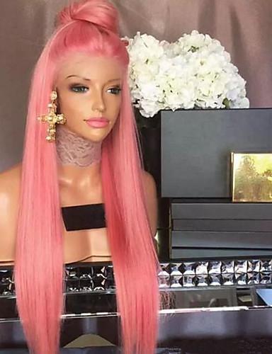 billige Blondeparykker med menneskehår-Remy Menneskehår Blonde Forside Parykk stil Peruviansk hår Rett Parykk 130% Hair Tetthet med baby hår Naturlig hårlinje Blekte knuter Dame Lang Blondeparykker med menneskehår beikashang