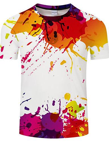 f7c40cfe772 Men s Club Basic   Exaggerated Plus Size T-shirt - Geometric   Rainbow  Print Round