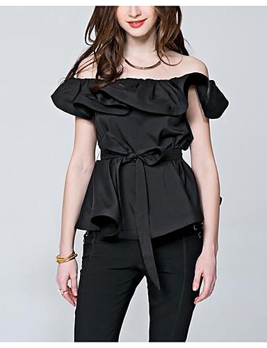 Bluza Žene - Vintage Dnevno Pamuk Jednobojni / Geometrijski oblici Puff rukav  Rese Crno-crvena