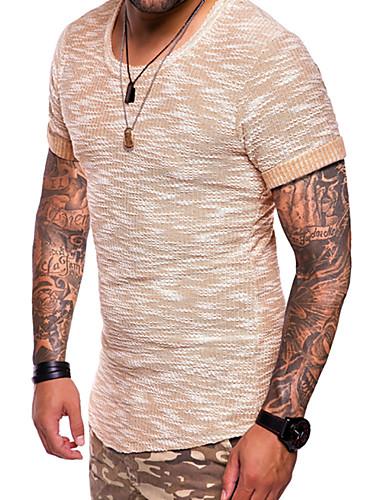 男性用 プラスサイズ Tシャツ ベーシック / 軍隊 ラウンドネック スリム ソリッド コットン ダックグレー XL / 半袖