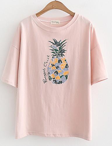 Majica s rukavima Žene - Osnovni Dnevno Voće Print Ananas