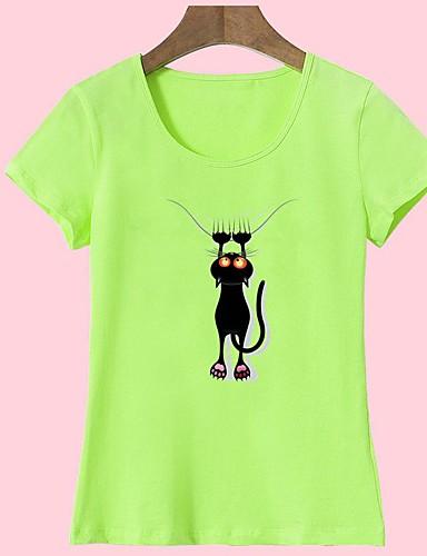 billige Dametopper-Bomull T-skjorte Dame - Dyr, Trykt mønster Grunnleggende Ut på byen Katt Lysegrønn L