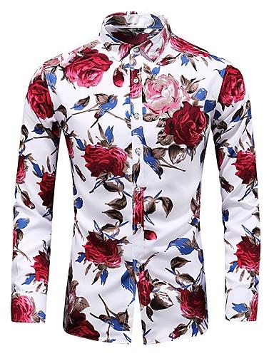 voordelige Herenoverhemden-Heren Vintage / Standaard Print Grote maten - Overhemd Katoen Bloemen Slank blauw / Lange mouw