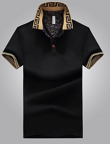 ราคาถูก ล้างสต็อก -99357C-สำหรับผู้ชาย เสื้อเชิร์ต คอเสื้อเชิ้ต สีพื้น สีดำ XXXL / แขนสั้น