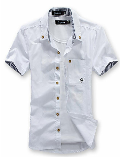 cheap Men's Shirts-Men's Daily Beach Weekend Plus Size Slim Shirt - Solid Colored Basic Button Down Collar Wine XL / Short Sleeve / Summer
