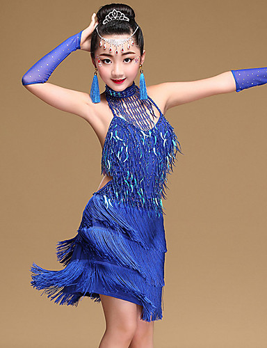 ac22c64dd Latin Dance Dresses Girls' Training / Performance Modal Tassel / Paillette  Sleeveless Natural Dress / Gloves / Neckwear