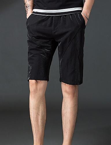 Pánské Základní Větší velikosti Bavlna Štíhlý Kalhoty chinos   Kraťasy  Kalhoty - Jednobarevné Černá XL   2b49cc0a57