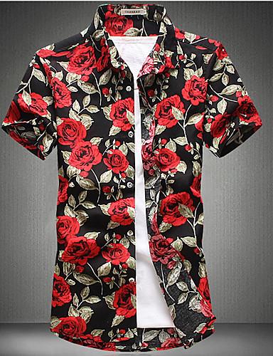 Veći konfekcijski brojevi Majica Muškarci - Osnovni Dnevno Pamuk Cvjetni print Slim, Kolaž / Print / Kratkih rukava