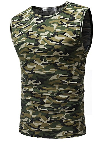 男性用 スポーツ プラスサイズ タンクトップ 軍隊 ラウンドネック スリム カモフラージュ レインボー XL / ノースリーブ