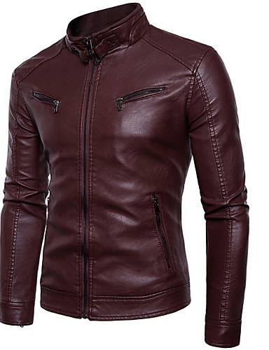 cheap $25-$35-Men's Practice Winter Regular Leather Jacket, Solid Colored Round Neck Long Sleeve PU / Polyester Black / Yellow / Wine