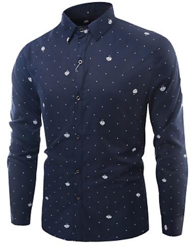 voordelige Herenoverhemden-Heren Zakelijk Overhemd Werk Polka dot Wit / Lange mouw