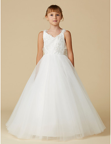 fe47bb24206e A-Line Floor Length Flower Girl Dress - Lace / Tulle Sleeveless V Neck with  Bow(s) / Flower by LAN TING BRIDE®