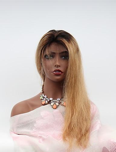 abordables Perruques Naturelles Dentelle-Perruque Cheveux Naturel Rémy Lace Frontale Cheveux Brésiliens Ondulé Coupe Asymétrique Femme Densité 130% avec des cheveux de bébé Homme Naturel Adorable Meilleure qualité Très long Noir / Blond