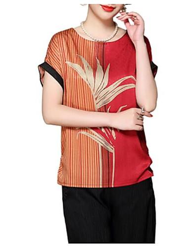 Majica s rukavima Žene - Vintage Dnevno Jednobojni Rese Crno-crvena