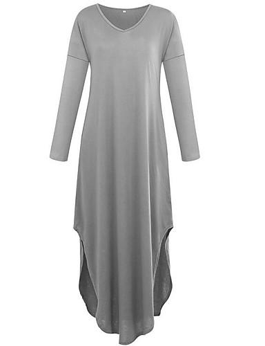فستان نسائي متموج طويل للأرض V رقبة مناسب للخارج