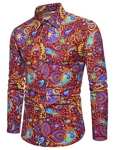 voordelige Uitverkoop-Heren Vintage / Standaard / Street chic Print Grote maten - Overhemd Linnen, Club Paisley / Tribal Slank Rood / Lange mouw