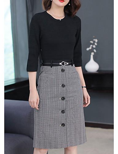abordables Robes Femme-Femme Travail Basique Midi Gaine Robe Tartan Printemps Automne Noir XL XXL XXXL Manches 3/4
