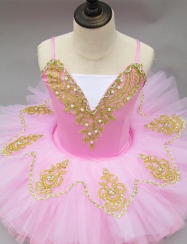 preiswerte Ballettbekleidung-Ballett Kleider Mädchen Leistung Elasthan Horizontal gerüscht Ärmellos Tutus