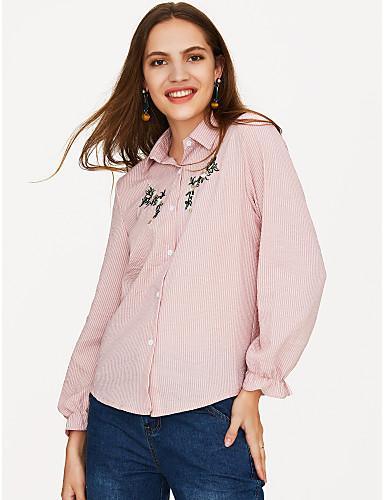 povoljno Majica-Majica Žene Dnevno Pamuk Jednobojni / Prugasti uzorak Kragna košulje Širok kroj, Vezeno Dusty Rose Blushing Pink