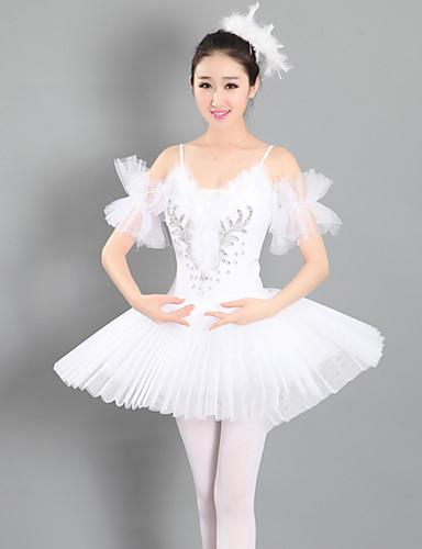 5994e776b رقص الباليه الفساتين للمرأة أداء سباندكس ruching في بدون كم تنورة توتو